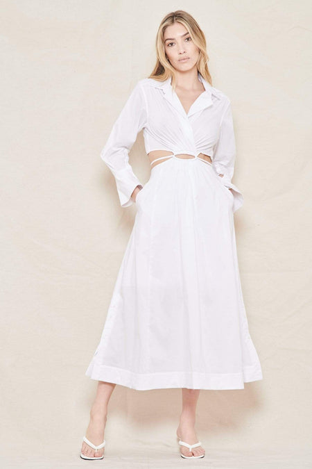Alex Pleated Poplin Cut-Out Shirt Dress