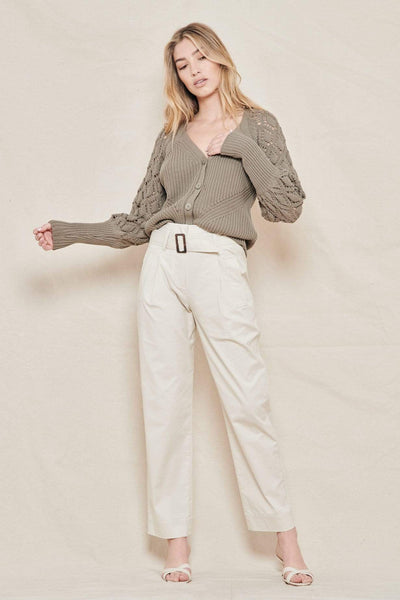 JONATHAN SIMKHAI PANTS EGRET / 0 Andie Topstitch Utility Belted Trench Pant Image