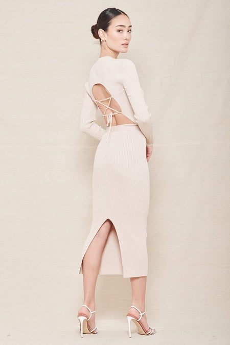 Sade Compact Rib Fitted Midi Skirt with Bra Straps