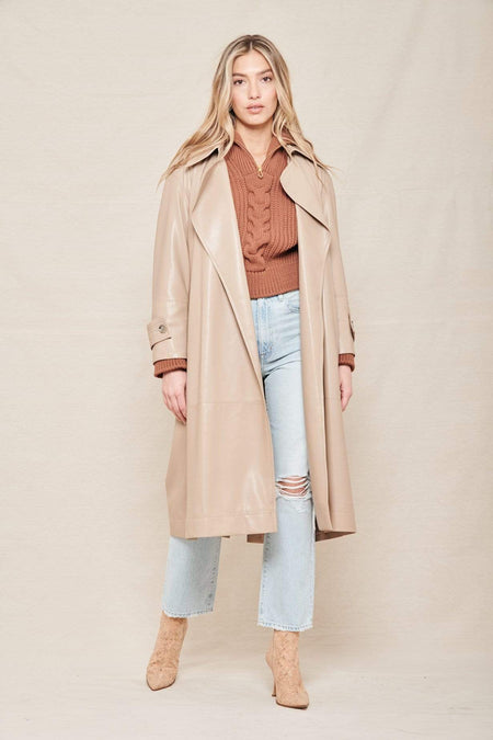 Vegan Leather Amal Trench Coat