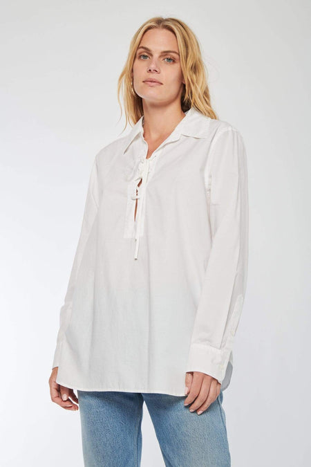 Lace-Up Cotton Poplin Top