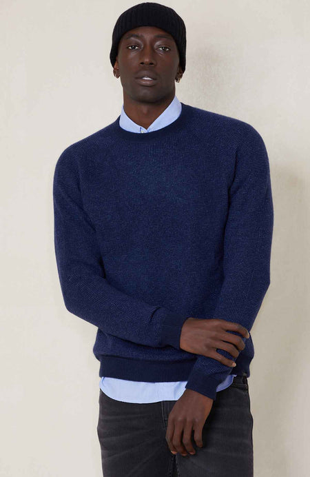 Reversible 2 Color Textured Cashmere Crew