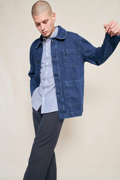 SCHNAYDERMAN'S JACKET WASHED INDIGO / S Chore Jacket Denim Wash Image