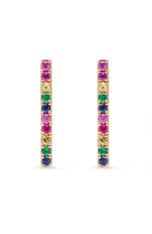 SHAIN LEYTON EARRINGS 14K Gold Large Rainbow Stick Studs Image