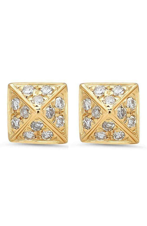 SHAIN LEYTON EARRINGS Diamond Pyramid Studs Image