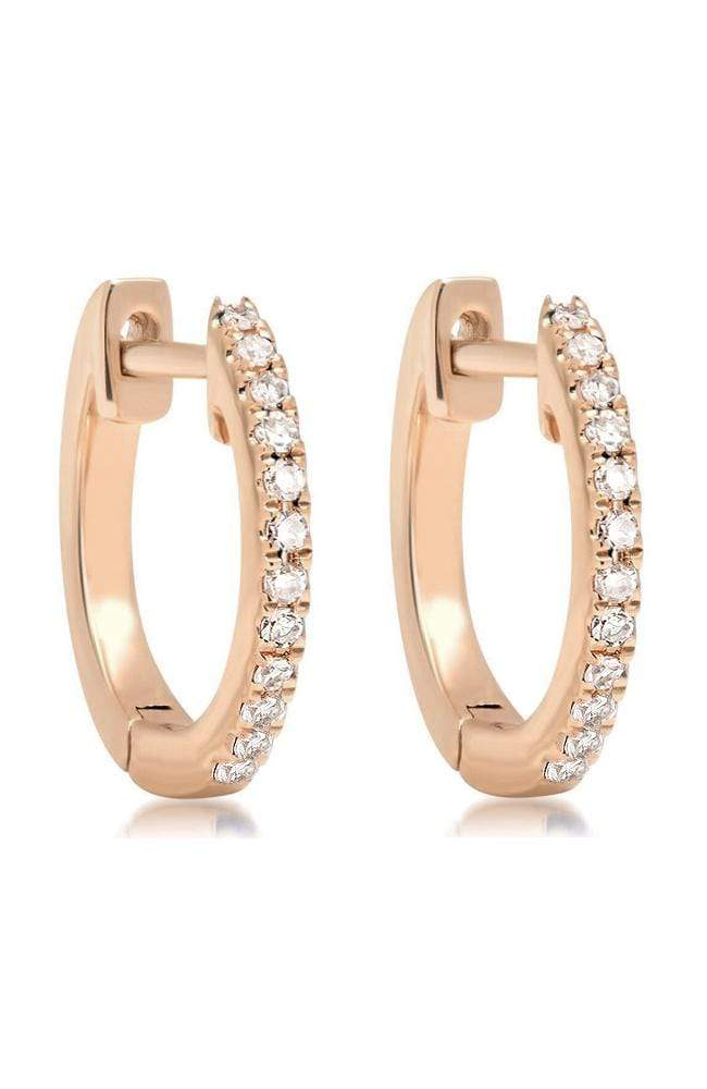 SHAIN LEYTON EARRINGS ROSE GOLD / O/SZ 14K Gold Diamond Huggies Image