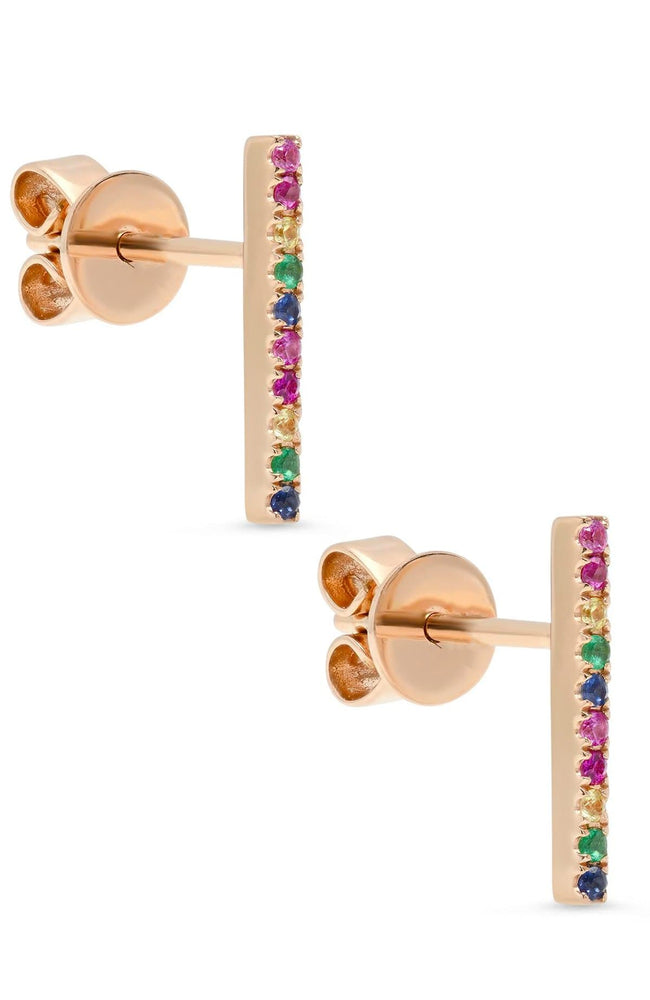 SHAIN LEYTON EARRINGS ROSE GOLD / O/SZ 14K Gold Large Rainbow Stick Studs Image