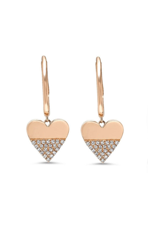 SHAIN LEYTON EARRINGS ROSE GOLD / O/SZ Diamond Heart Charm Huggies Image