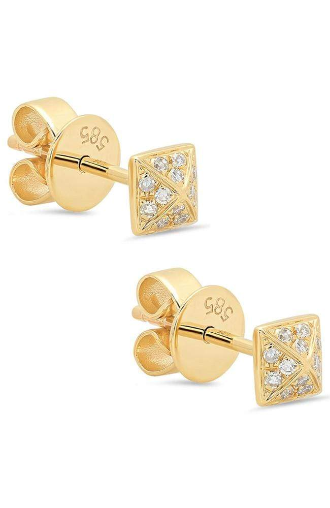 SHAIN LEYTON EARRINGS YELLOW GOLD / O/SZ Diamond Pyramid Studs Image