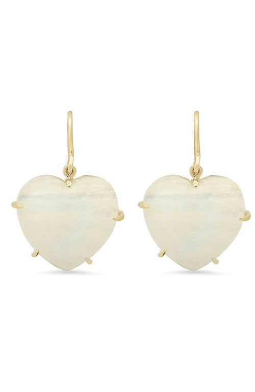 SHAIN LEYTON EARRINGS YELLOW GOLD / O/SZ Moonstone Heart Earrings Image