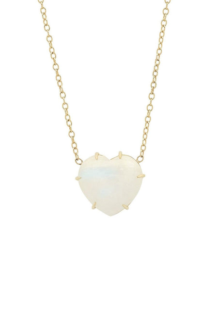 14K Yellow Gold Rainbow Moonstone Heart Necklace