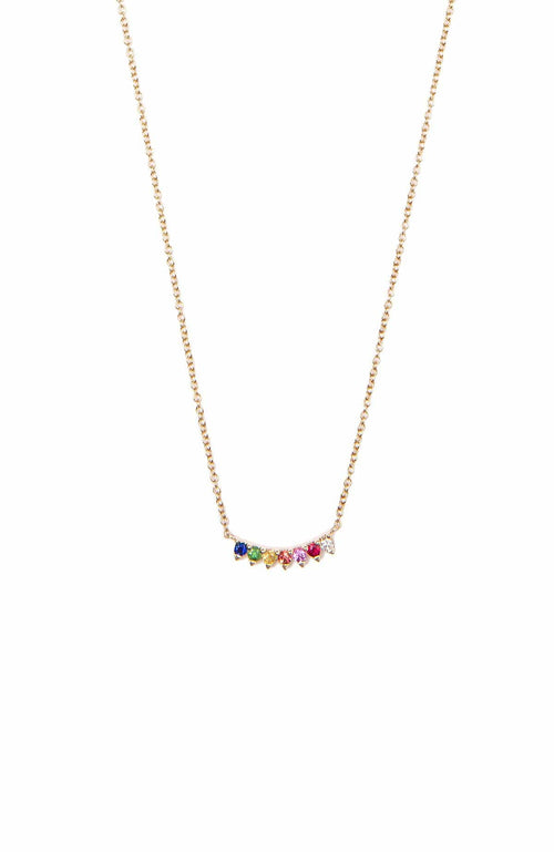SHAIN LEYTON NECKLACE YELLOW GOLD / O/SZ 7 Stone Rainbow Necklace Image