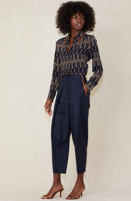 STELLA MCCARTNEY PANTS NAVY / 36 Wool Pleated Trousers Image