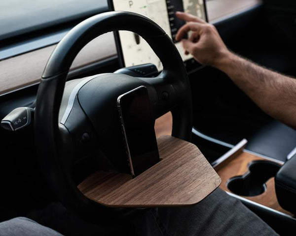 Tesla Model Y/3 'DeskWedge' Steering Wheel Desk (Real Wood)