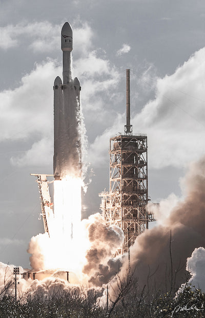 Limited Edition SpaceX Falcon Heavy hand signed print by Pauline Acalin