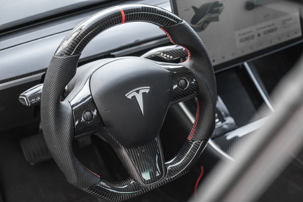 Tesla Model 3 & Y Carbon Fiber Steering Wheel