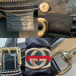 Gucci Black Coated Canvas and Patent Leather Dialux Britt Hobo