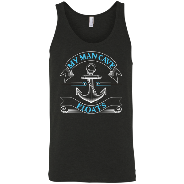 My Man Cave Floats - Funny Boating Fishing Tank Top black triblend