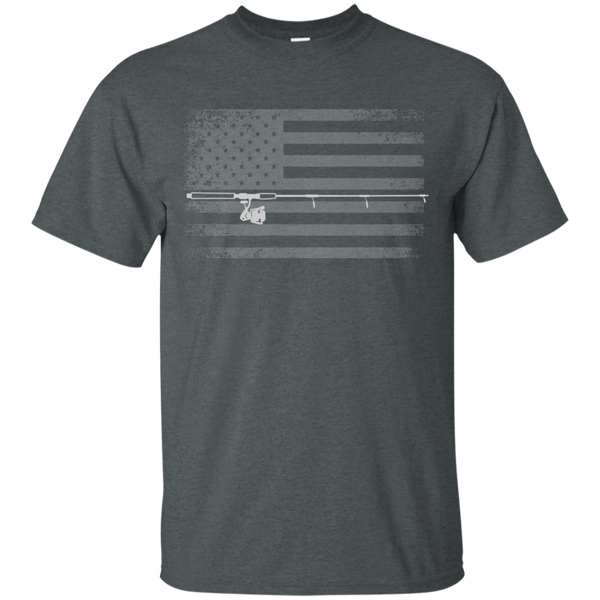 American Flag Fishing T-shirt - White Across - Grey