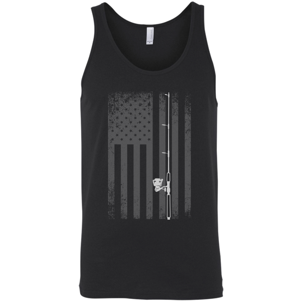 American Flag Fishing Tank Top - White Longways - Black