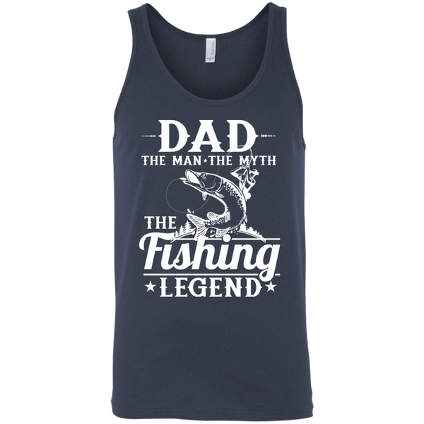 Dad The Man The Myth The Fishing Legend Fishing Tank Top heather blue