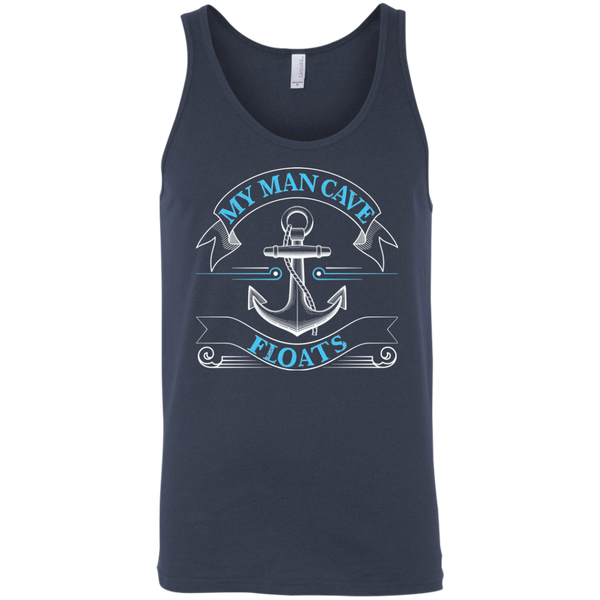 My Man Cave Floats - Funny Boating Fishing Tank Top navy