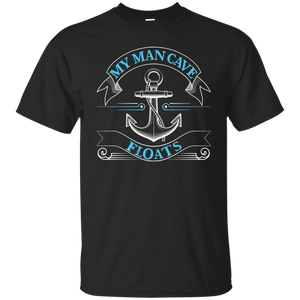 My Man Cave Floats - Funny Boating Fishing T-shirt Black