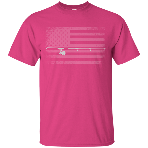 American Flag Fishing T-shirt - White Across - Pink