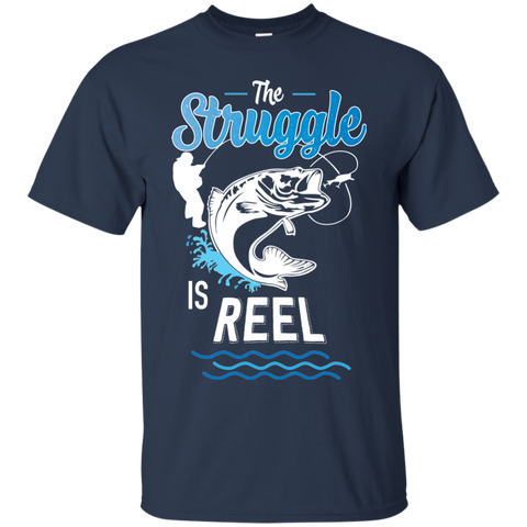 Funny Fishing Shirt The Struggle Is Reel Navy Blue