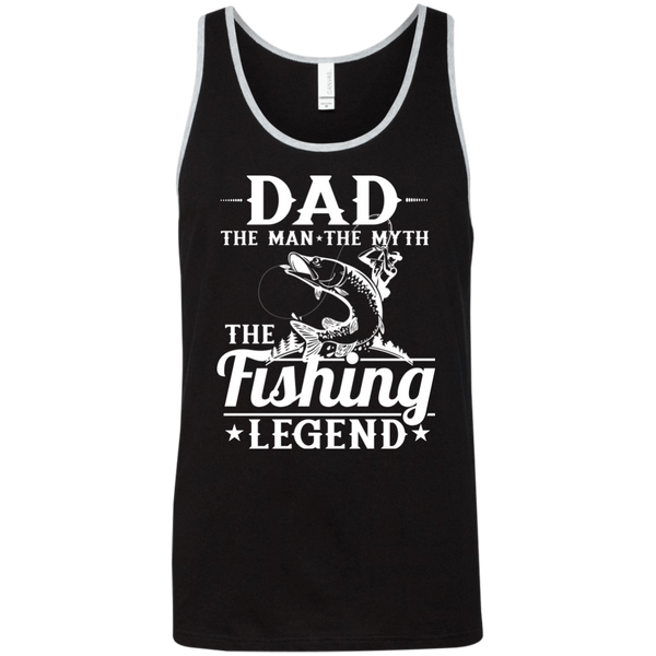 Dad The Man The Myth The Fishing Legend Fishing Tank Top black with white border