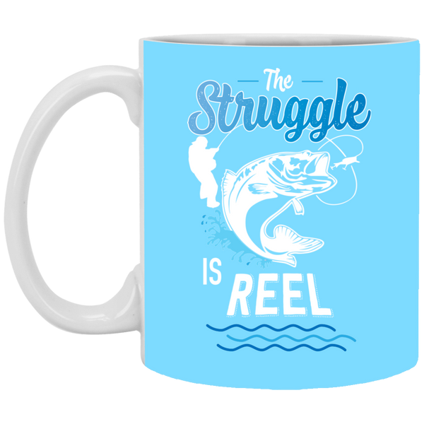The Struggle Is Reel Fishing Coffee Mug Light BLue