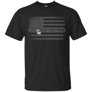 American Flag Fishing T-shirt - White Across - Black