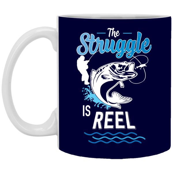 The Struggle Is Reel Fishing Coffee Mug Dark Blue