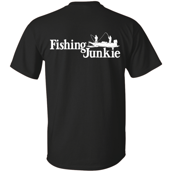 Fishing Junkie Boat - Print On Back Of T-shirt