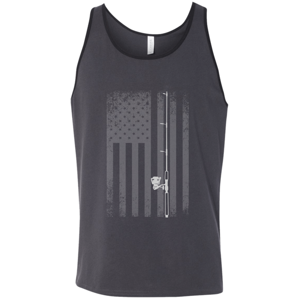 American Flag Fishing Tank Top - White Longways - Grey Wide Cut