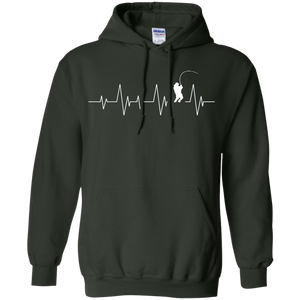 Fishing Heartbeat - Pullover Hoodie 8 oz.