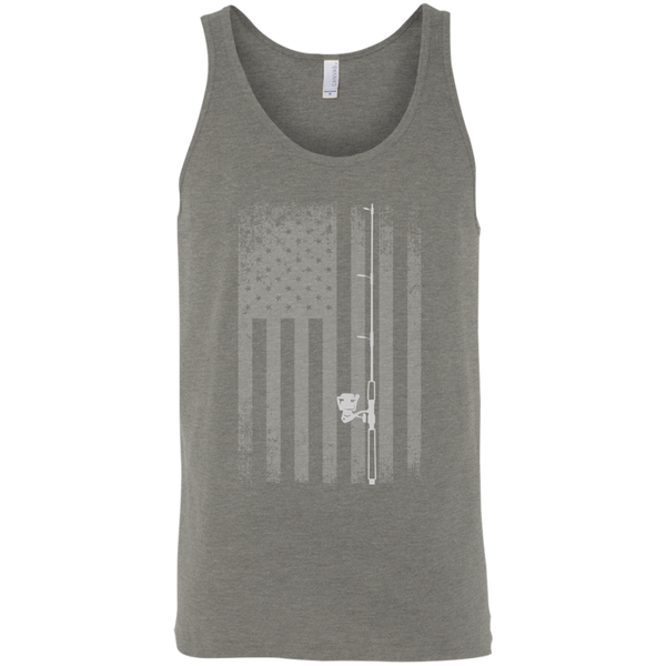 American Flag Fishing Tank Top - White Longways - Grey