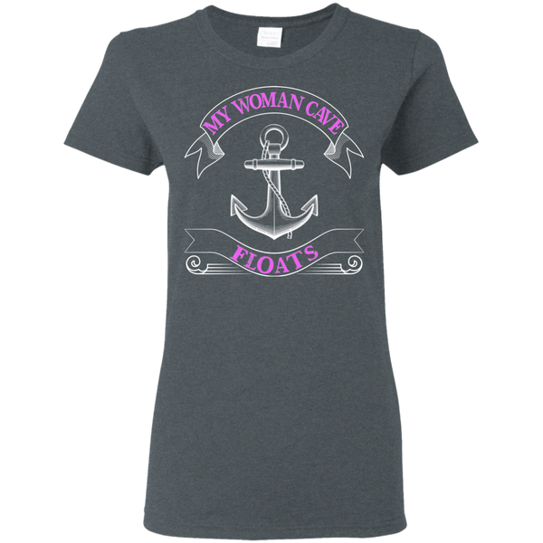 My Woman Cave Floats - Ladies Fishing T-shirt