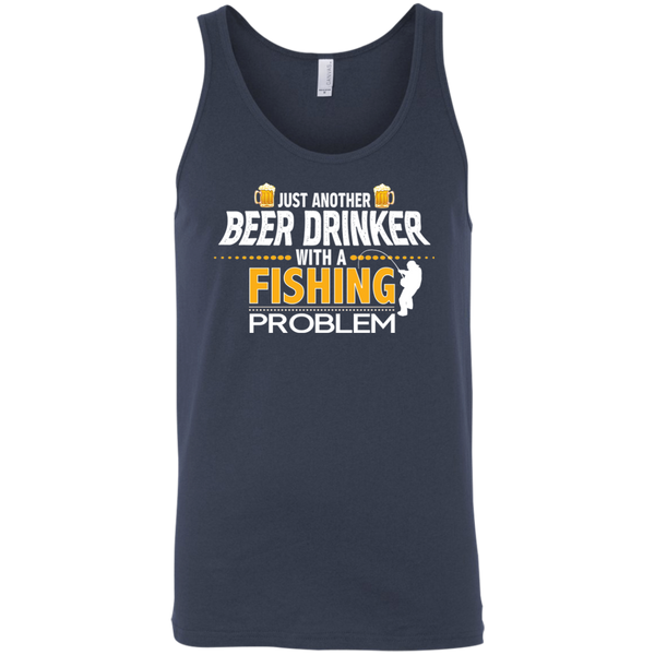 Just Another Beer Drinker With A Fishing Problem Funny Fishing Tank Top  Navy