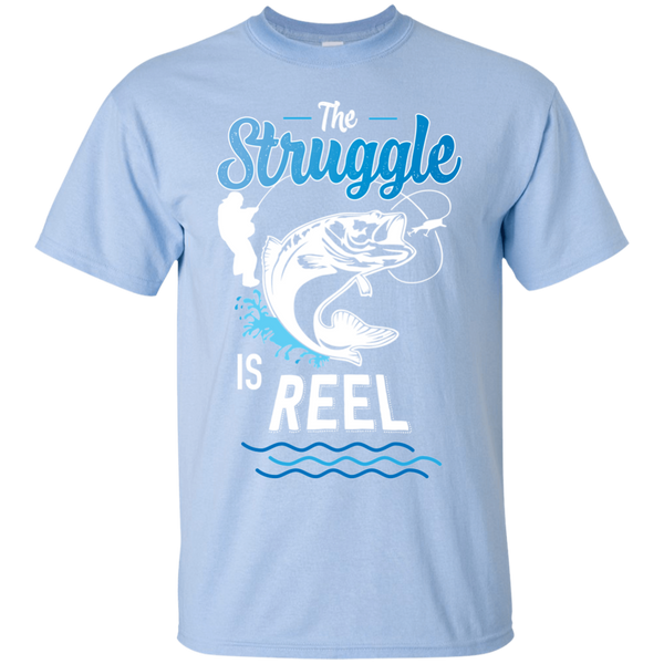 Funny Fishing Shirt The Struggle Is Reel Light Blue