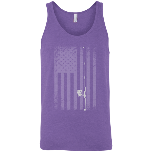 American Flag Fishing Tank Top - White Longways
