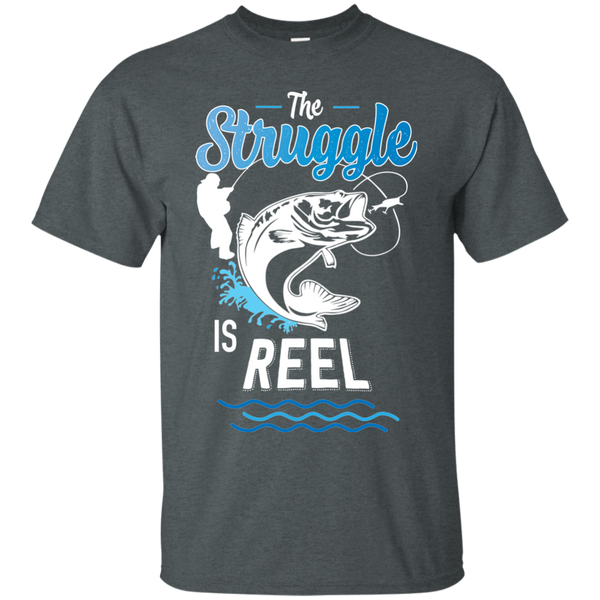 Funny Fishing Shirt The Struggle Is Heather Grey
