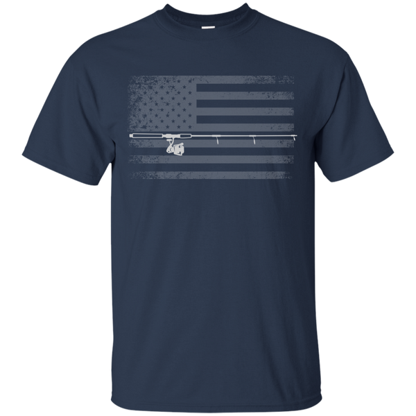 American Flag Fishing T-shirt - White Across - Navy