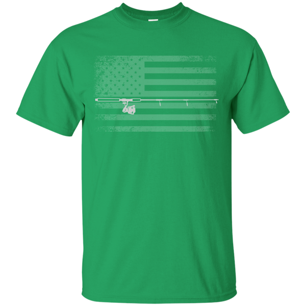 American Flag Fishing T-shirt - White Across - Green