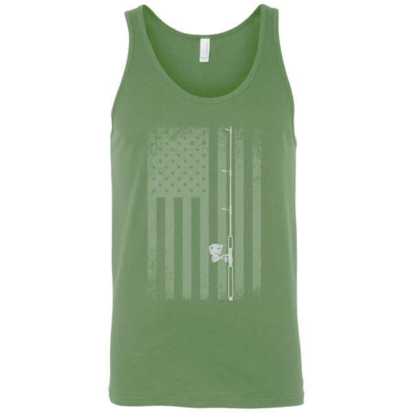American Flag Fishing Tank Top - White Longways - Lime