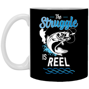 The Struggle Is Reel Fishing Coffee Mug Black
