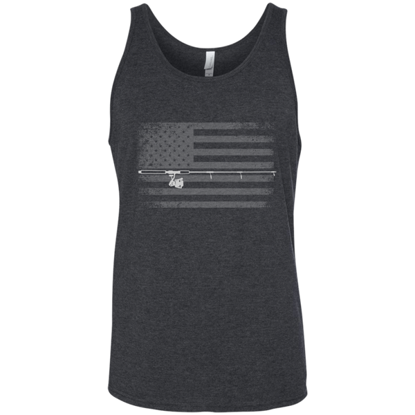 American Flag Fishing Tank Top - White Across