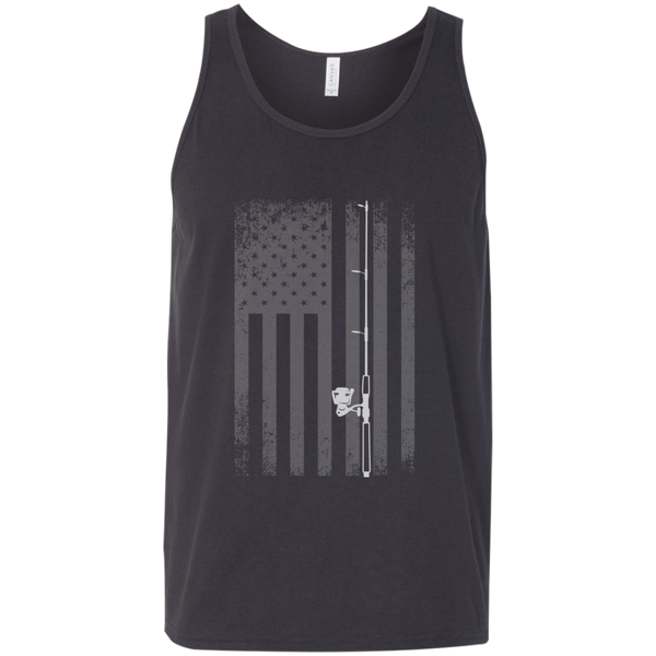 American Flag Fishing Tank Top - White Longways - Dark Grey Wide