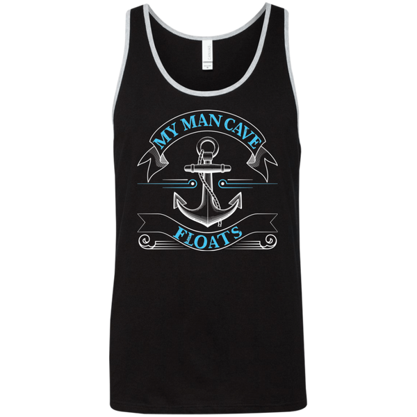 My Man Cave Floats - Funny Boating Fishing Tank Top Black with border stripe