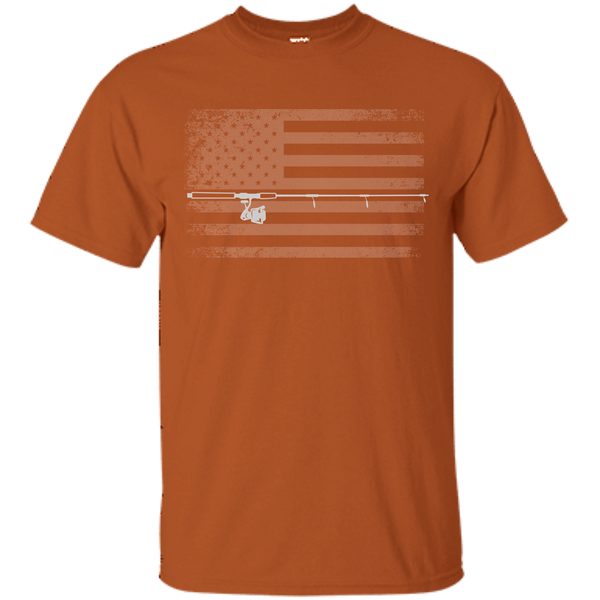 American Flag Fishing T-shirt - White Across - Rust